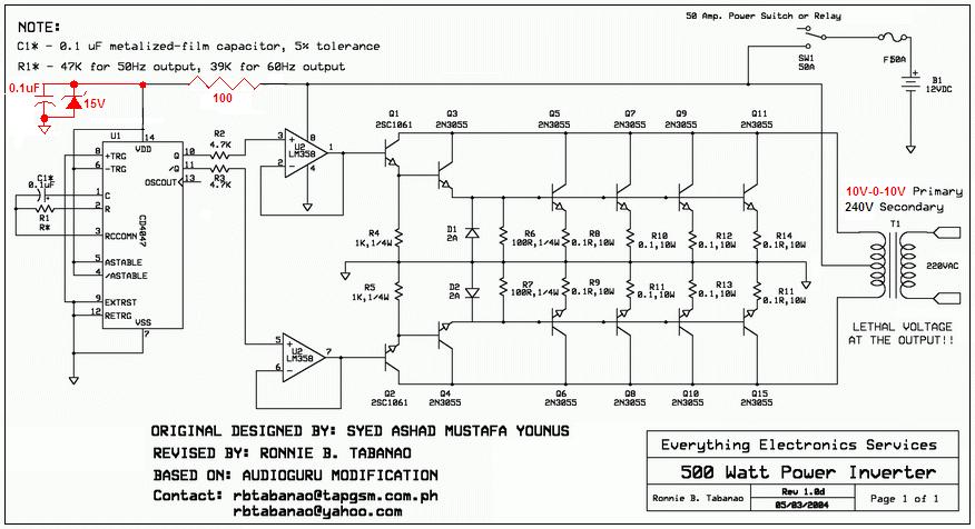 CIRCUIT DIAGRAM: 500W inverter