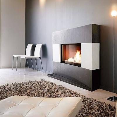 Decoraci n minimalista y contempor nea elegantes chimeneas minimalistas y contempor neas de - Muebles para chimenea ...