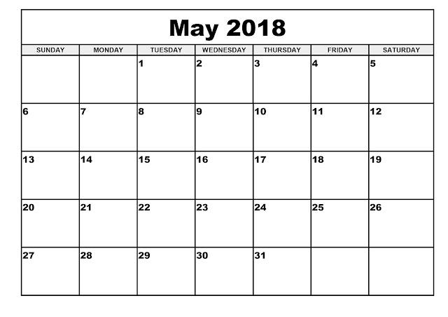 Free 2018 May Printable Calendar, Blank May 2018 Calendar Printable, May 2018 Blank Calendar, May 2018 Blank Holiday Calendar, Blank Calendar for May 2018