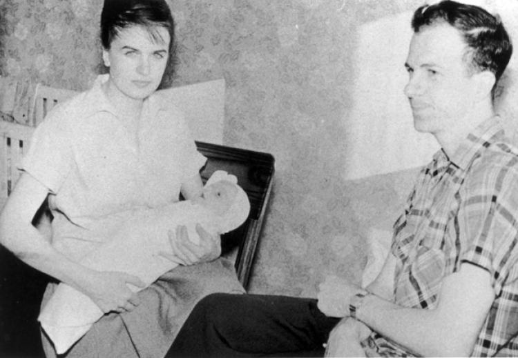 Lee Harvey Oswald with his wife, Marina, and their son, June