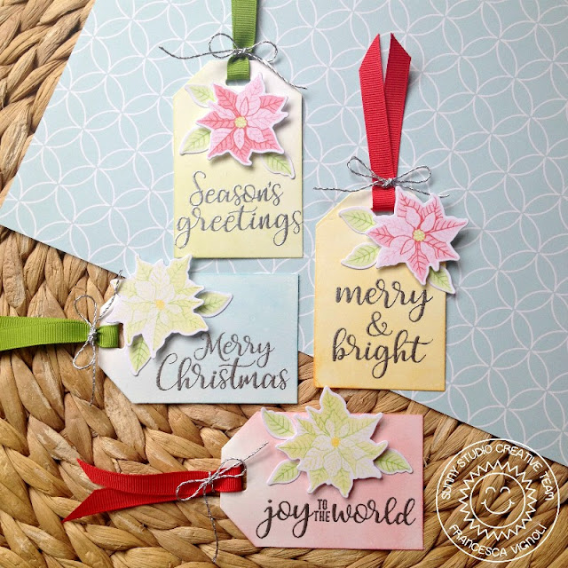 Sunny Studio Stamps: 25 Days of Christmas Tags using Petite Poinsettias by Franci Vignoli