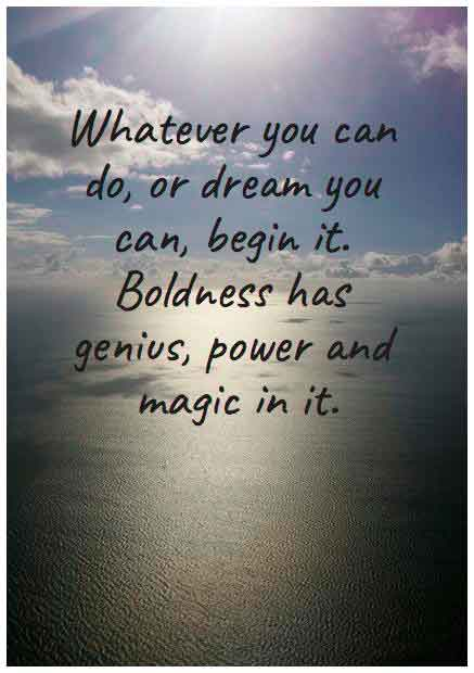 'Whatever you can do or dream you can, begin it.Boldness has genius, power and magic in it!' — John Ansterx