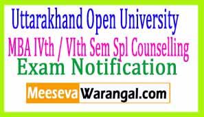 Uttarakhand Open University MBA IVth / VIth Sem Spl Counselling Prokect CP 3005 Notice