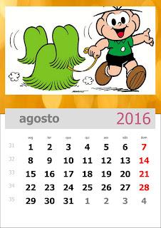 Calendário Turma da Mônica 2016 Agosto