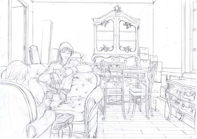Chez Roy Mustang - crayonné d'un fanart de FMA avec décor