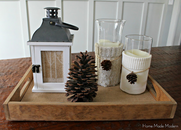 winter vignette with candles