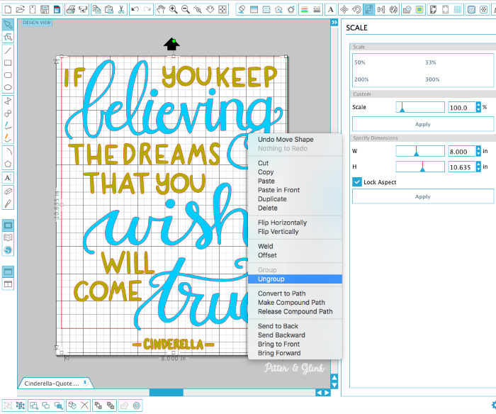 FREE hand-lettered Cinderella quote cut file