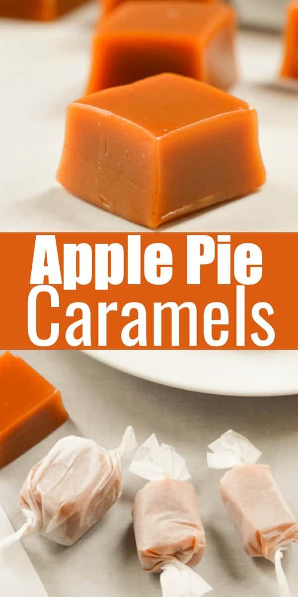 Apple Pie Caramels recipe are a soft caramel made with apple cider reduction. Apple Caramels are a favorite for Christmas Candy trays from Serena Bakes Simply From Scratch.