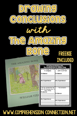 This post features the book, The Amazing Bone by William Steig. This Drawing Conclusions freebie can be used with the book, but there are other teaching ideas within the post too.