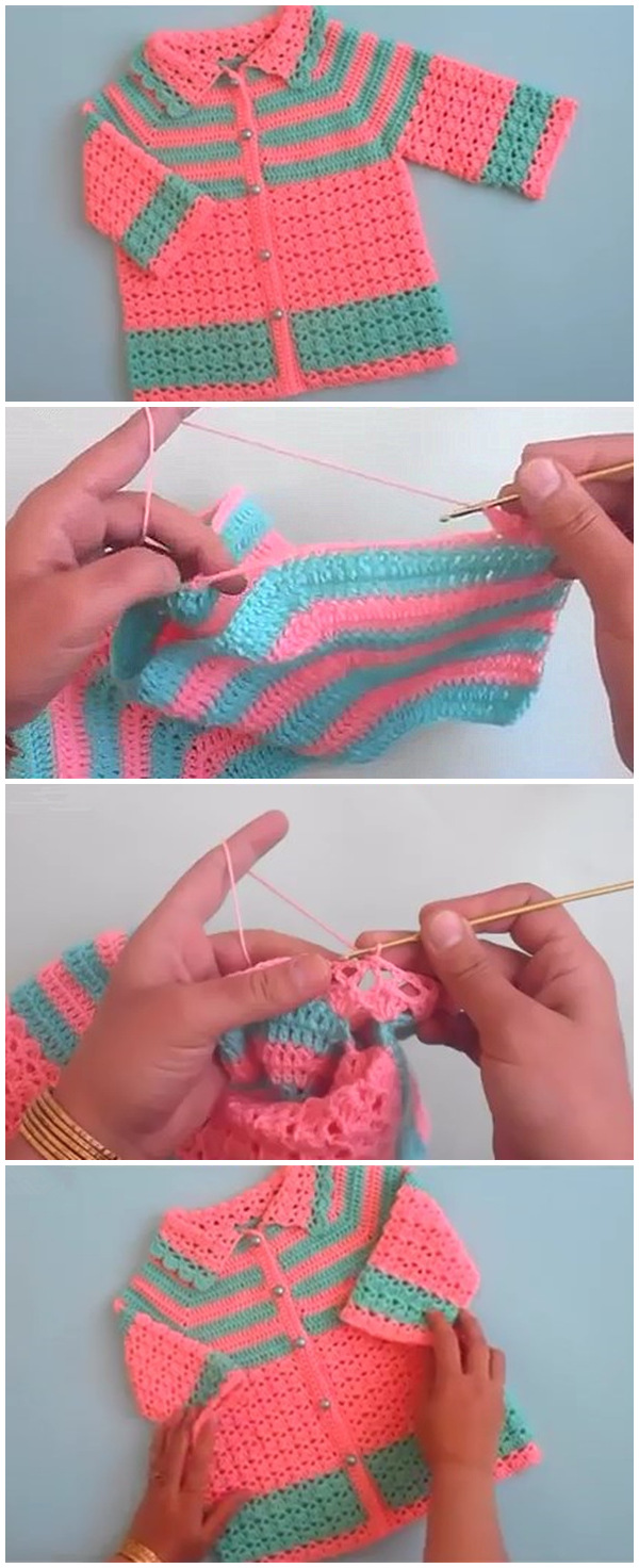 How to crochet easy baby sweater cardigan Tutorial