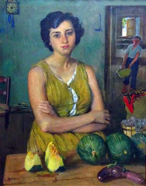 Mujer con melones, Laureano Barrau Buñol, Pintor Catalán, Pintor español, Cuadros de Laureano Barrau Buñol, Barrau Buñol, Laureano Barrau