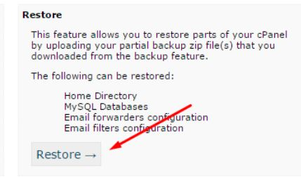 how to restore WordPress partial backup database and files saved with cpanel