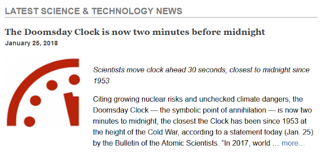 http://www.kurzweilai.net/the-doomsday-clock-is-now-two-minutes-before-midnight?utm_source=KurzweilAI+Daily+Newsletter&utm_campaign=63c5cb5dac-UA-946742-1&utm_medium=email&utm_term=0_6de721fb33-63c5cb5dac-281897185