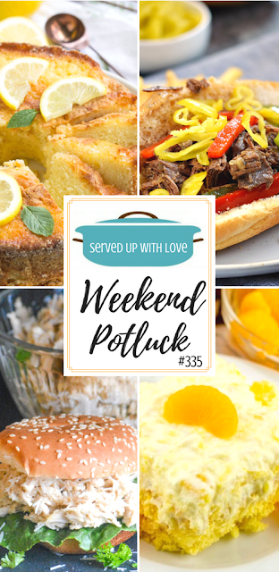 Weekend Potluck featured recipes at Served Up With Love include Famous Ritz Carlton Hotel Lemon Pound Cake, Instant Pot Italian Beef, Crock Pot Chicken Caesar Sandwiches, and Pig Pickin' Cake.