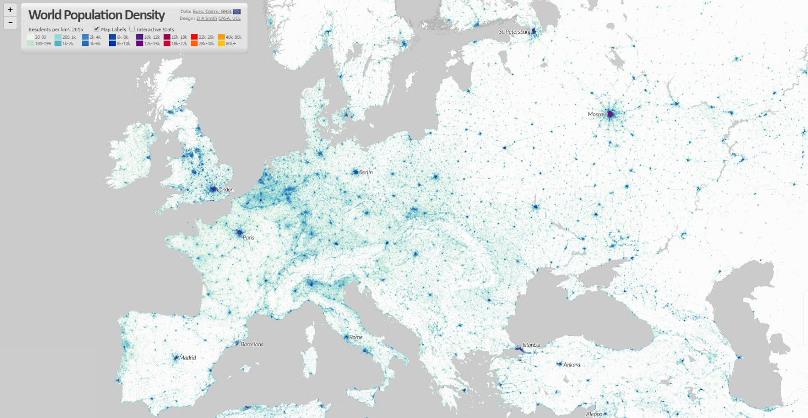 World population density (one dot per person) - Europe