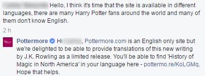 Dalla pagina Facebook di Pottermore del 07 marzo 2015