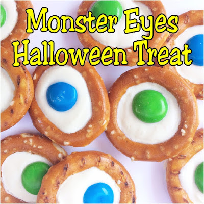 "Make a sweet, simple, and delicious treat for your Halloween party with these Monster Eyes pretzel treats.  They are just ""scary"" enough to fit in at the Halloween dessert table but yummy enough that little Halloween guests will love them."
