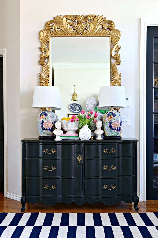DIY, french provincial dresser, Sherwin Williams Tricorn Black, tobacco leaf lamps, styling ideas