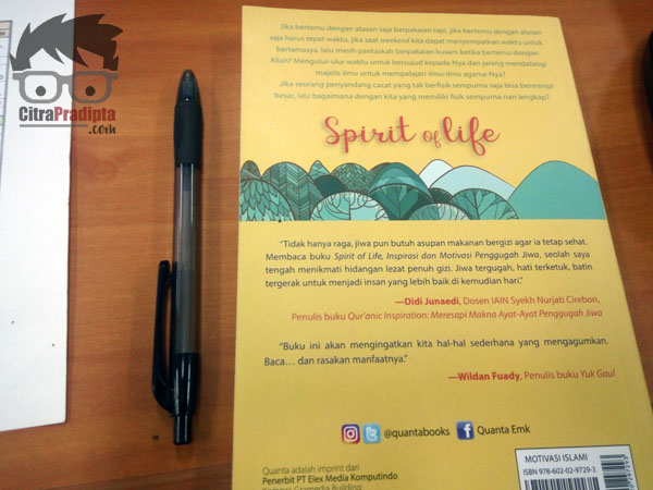Cover Belakang Buku Spirit of Life
