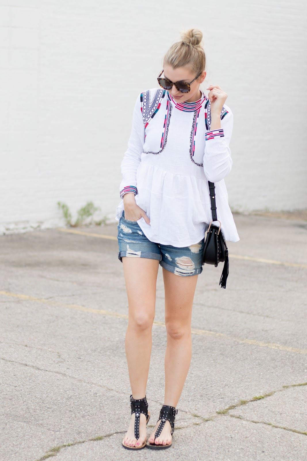 Boho blouse with boyfriend shorts