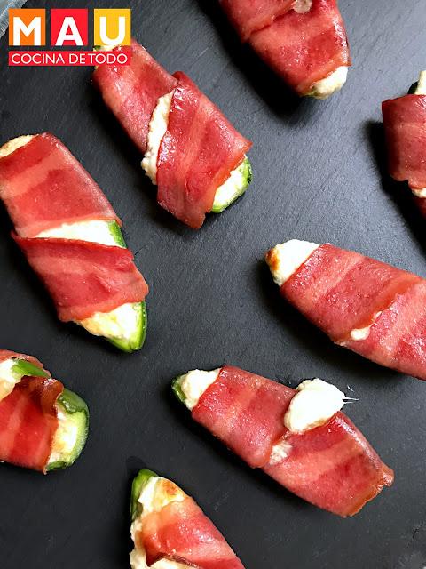 receta jalapeño poppers rellenos de queso envueltos en tocino pavo cerdo botana facil