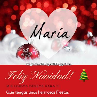Tarjeta personalizada para Navidad con el nombre Maria