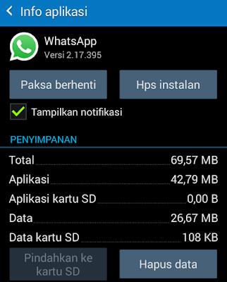 Menghapus Data Aplikasi WA