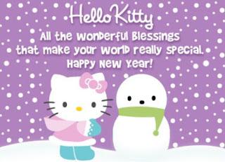 Gambar Hello Kitty Terbaru Happy New Year Boneka Salju Selamat Tahun Baru Wallpaper HD