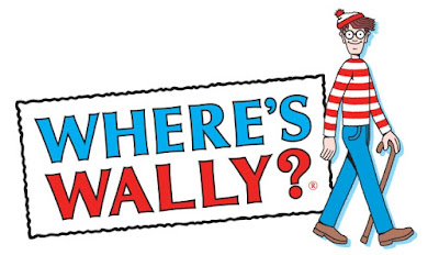 """Where's Wally?"" with Wally in red striped sweater"