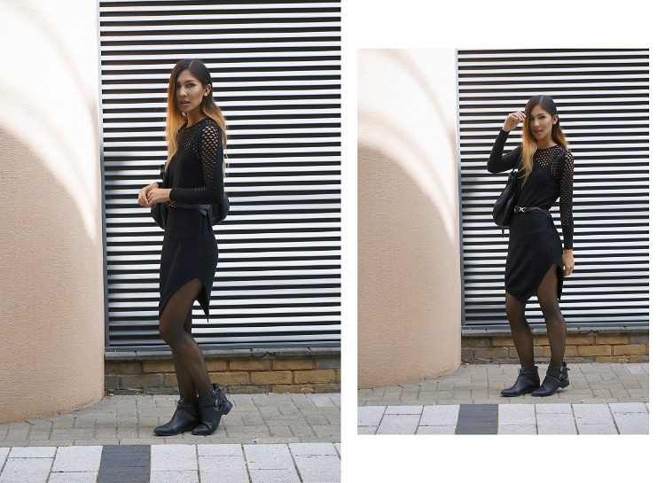 Euriental - perforated netted black jumper dress with a Chloe Marcie