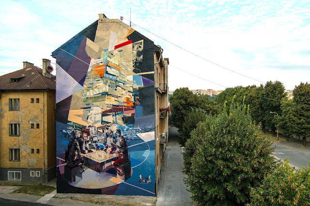 Robert Tone Proch and Chazme MURAL IN Kosice , Slovakia - Landscape View