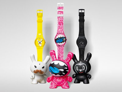 Kidrobot for Swatch Watch and Dunny 2 Packs - Frank Kozik, MAD & Gary Baseman Sets