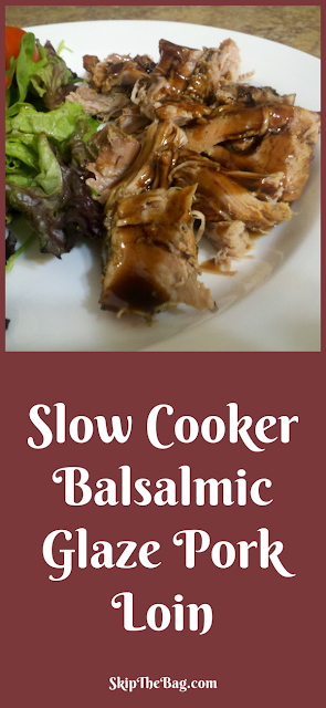 Slow Cooker Balsamic Glaze Pork Loin. Delicious crock pot meal that is easy to make.