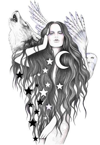 """Moon Witch"" by Andrea Hrnjak | dibujos bonitos a lapiz | imagenes lindas | illustration art"