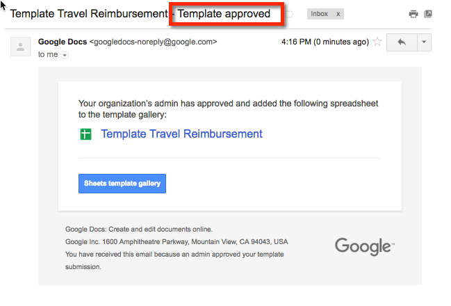 Google Drive - Moderated Templates in the Template Gallery