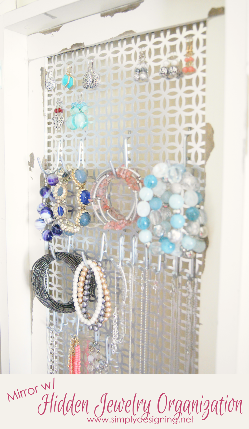 Mirror With Hidden Jewelry Storage Diy Space Saver Jewelry