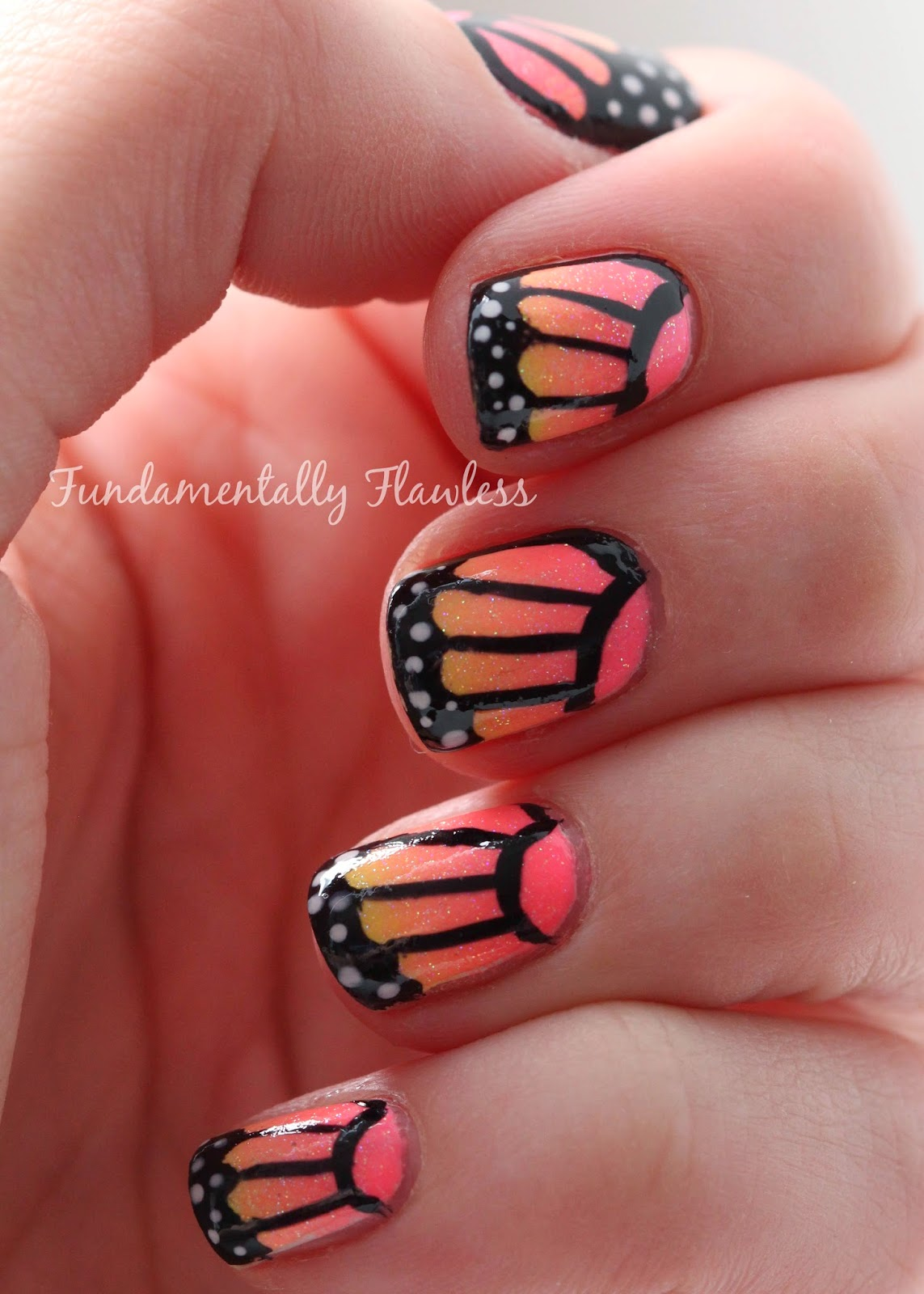 Fundamentally Flawless Butterfly Wing Nail Art With Models Own Polish For Tans Neon Gradient