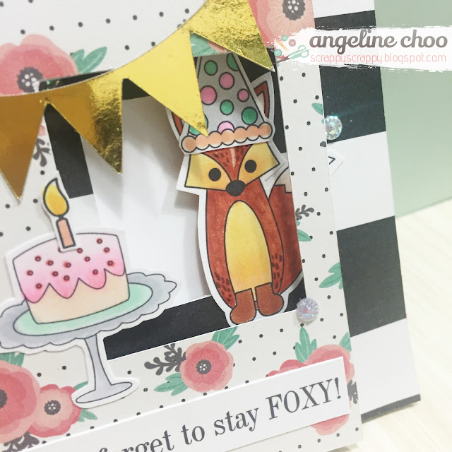 ScrappyScrappy: Foxy birthday #scrappyscrappy #thecuttingcafe #card #birthday #goldfoil #stamp #printable #windowcard #diecut #svg #foxy