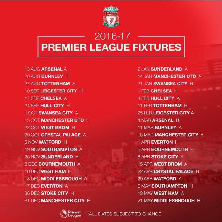 Calendario Arsenal.Calendario Del Liverpool Temporada 2016 17 Esto Es Anfield