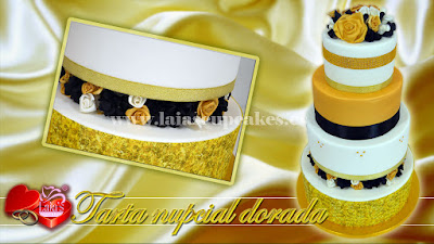 Tarta personalizada fondant impresión comestible flores pedrería boda nupcial oro dorada Laia's Cupcakes Puerto Sagunto