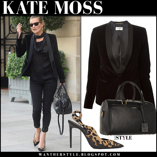 Kate Moss in black velvet jacket, black jeans and leopard pumps at Paris Fashion Week september 27 2017 street fashion saint laurent