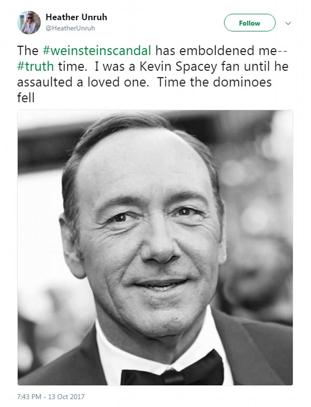 EBL: Kevin Spacey alleged to have sexually assaulted Heather Unruh's