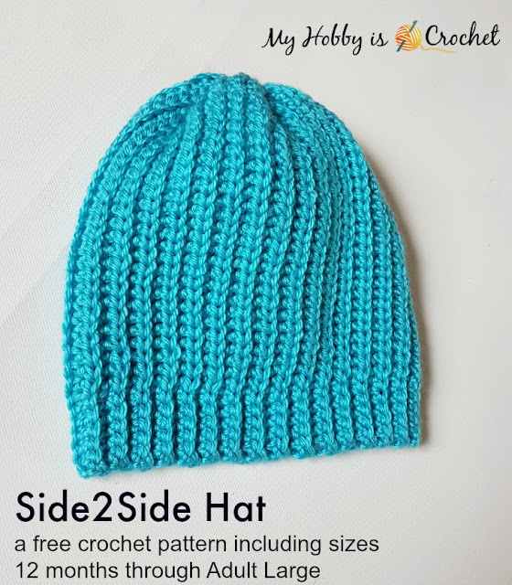 Side2Side Hat - Free Crochet pattern  (12 months - Adult Large) on myhobbyiscrochet.com