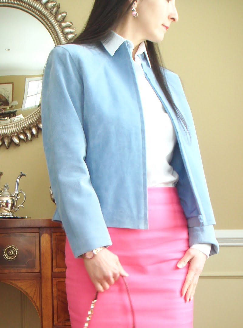 Bright Pink Work Outfit - upclose of jacket