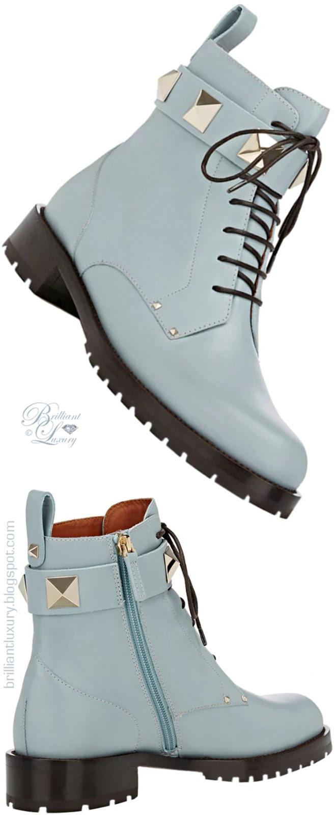 Brilliant Luxury ♦ Valentino Garavani Rockstud blue leather combat boots