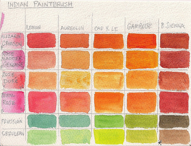 Color mixing grid for Indian Paintbrush 2015