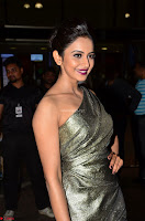 Rakul Preet Singh in Shining Glittering Golden Half Shoulder Gown at 64th Jio Filmfare Awards South ~  Exclusive 004.JPG