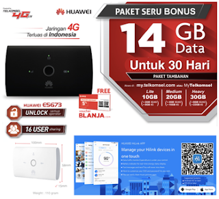 Modem 4G wifi Mifi bundling 14Gb telkomsel