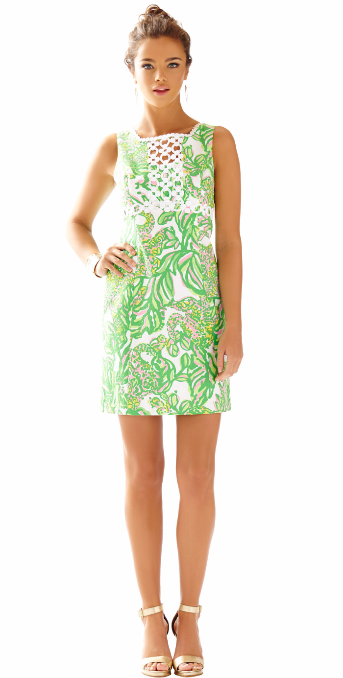 LILLY PULITZER ROSIE SQUARE NECK SHIFT DRESS GREEN