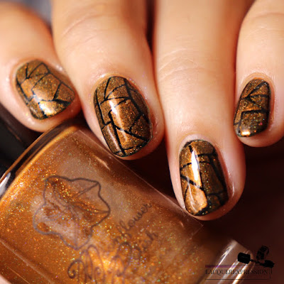 Nail stamping polish swatch of holographic burnt orange polish Pecans and Caramel by Moonflower Polish